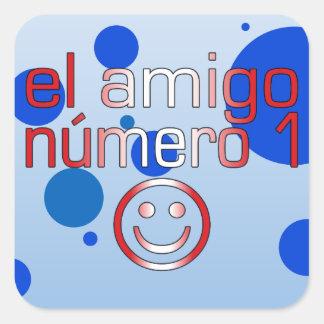 El Amigo Número 1 in Peruvian Flag Colors for Boys Square Sticker