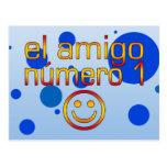 El Amigo Número 1 in Spanish Flag Colors for Boys Post Cards
