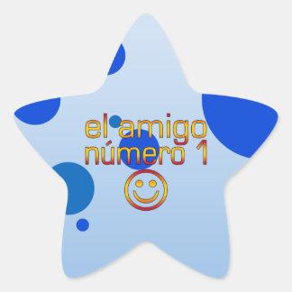 El Amigo Número 1 in Spanish Flag Colors for Boys Star Sticker