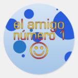 El Amigo Número 1 in Spanish Flag Colors for Boys Round Stickers