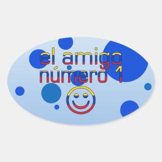 El Amigo Número 1 in Venezuelan Flag Colors 4 Boys Oval Sticker