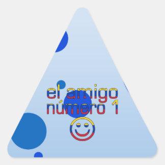 El Amigo Número 1 in Venezuelan Flag Colors 4 Boys Triangle Sticker