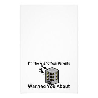 El amigo sus padres le advirtió alrededor papelería de diseño