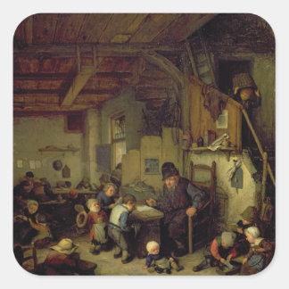 El amo de la escuela, c.1662 (aceite en el panel) pegatina cuadrada