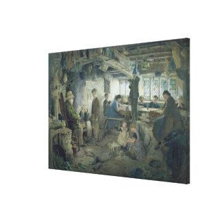 El amo estricto de la escuela, 1868 lona envuelta para galerías