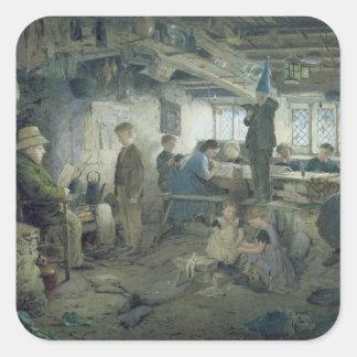 El amo estricto de la escuela, 1868 calcomanias cuadradas