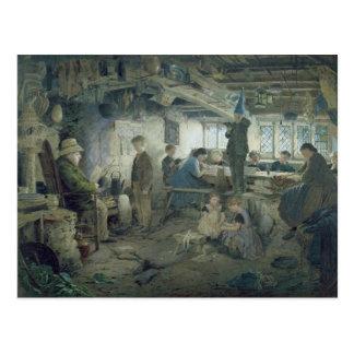 El amo estricto de la escuela, 1868 postal