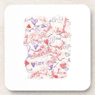 El amor acaricia adora el collage rojo y púrpura posavasos de bebidas