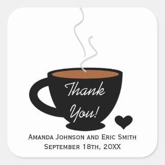 El amor acogedor del café le agradece favorecer la calcomania cuadradas