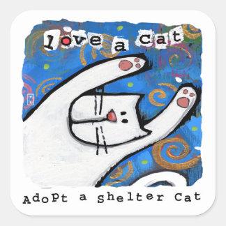 El amor, adopta gatos del refugio pegatina cuadrada