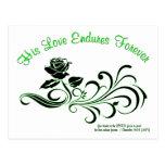 el amor aguanta verde y negro postal