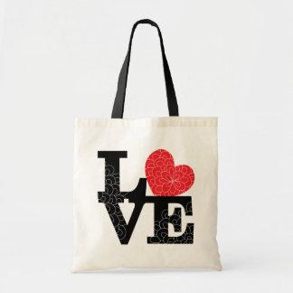 El amor ajustó la impresión floral bolsa