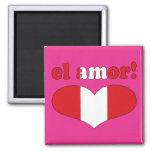 ¡EL Amor! - Amor en el día de San Valentín peruano Imán Cuadrado