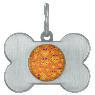 El amor anaranjado de Lovebugs fastidia productos Placa De Mascota