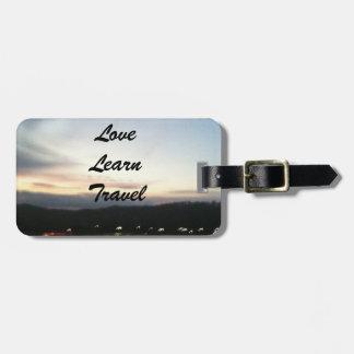 El amor, aprende, viaja etiqueta adaptable del equ etiqueta de maleta