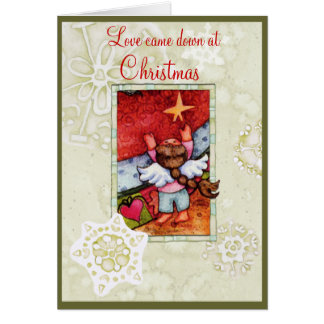 El amor bajó en el navidad tarjeta de felicitación