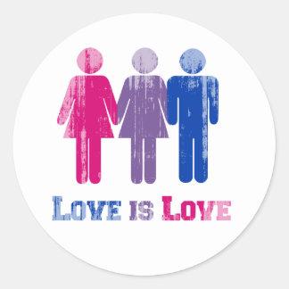 El amor bisexual es amor apenado pegatina redonda