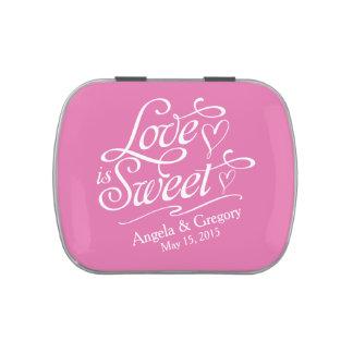 El amor blanco rosado es lata dulce del caramelo frascos de dulces
