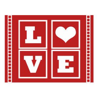 El amor bloquea la postal, rojo oscuro