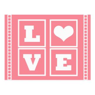 El amor bloquea la postal, rosa