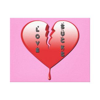 El amor chupa el corazón quebrado impresion de lienzo