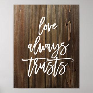 El amor confía en siempre en el falso poster de