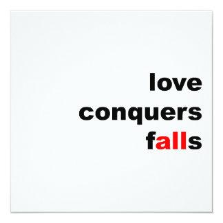 """El amor conquista caídas invitación 5.25"""" x 5.25"""""""