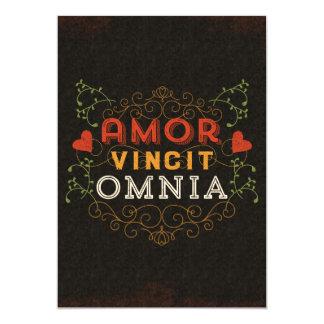 """El amor conquista todos - Amor romántico Vincit Invitación 5"""" X 7"""""""