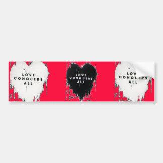 El amor conquista todos etiqueta de parachoque