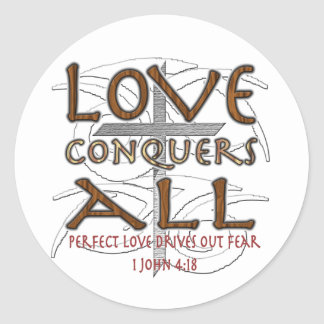 El amor conquista todos etiqueta redonda