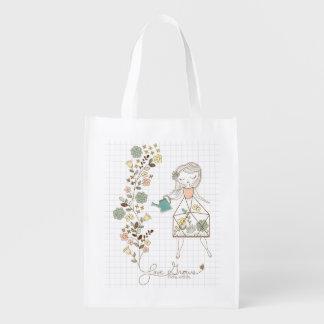 El amor crece el bolso reutilizable bolsas para la compra