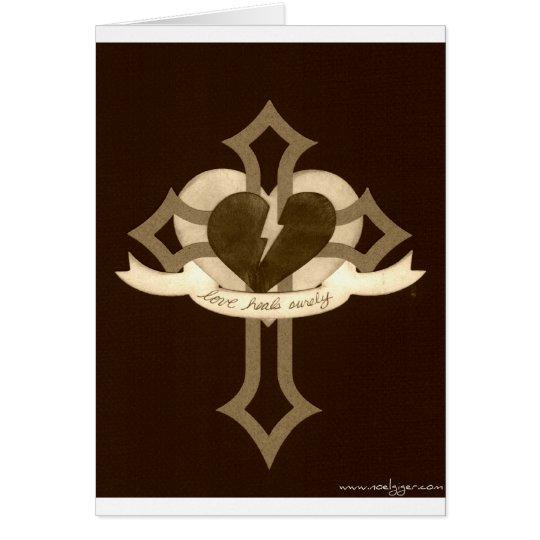 El amor cura seguramente - efecto de la sepia tarjeta de felicitación