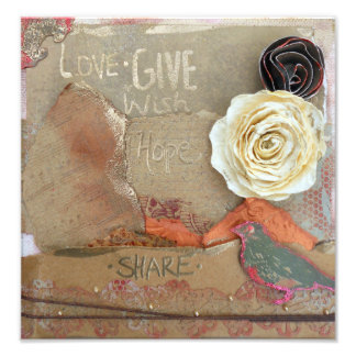 El amor, da, espera, impresión de la foto de las