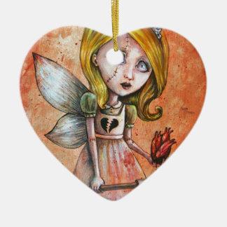 El amor daña a la princesa oscura de los Undead de Adorno Navideño De Cerámica En Forma De Corazón
