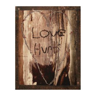 El amor daña el granero oxidado del clavo del cuadro de madera
