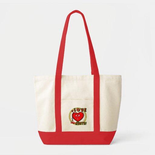 El amor daña las camisetas y los regalos bolsa tela impulso
