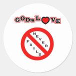 El amor de dios nunca falla pegatina redonda