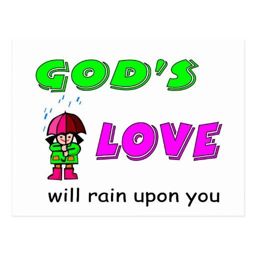 El amor de dioses lloverá sobre usted diseño crist postales