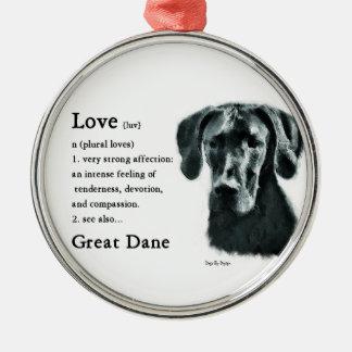 El amor de great dane es adorno navideño redondo de metal
