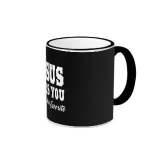 El amor de Jesús usted, pero yo es su favorito Taza A Dos Colores