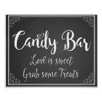 el amor de la barra de caramelo de la pizarra es póster