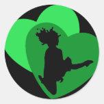 El amor de la danza del irlandés - negro etiqueta redonda