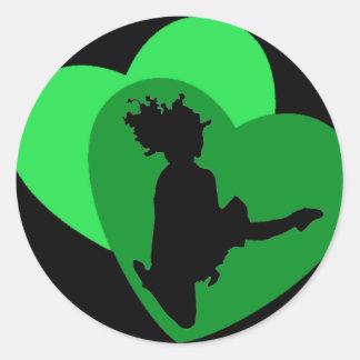 El amor de la danza del irlandés - negro pegatina redonda