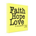 El amor de la esperanza de la fe envolvió la impre lona envuelta para galerias