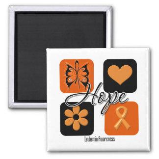 El amor de la esperanza de la leucemia inspira imán cuadrado