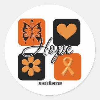 El amor de la esperanza de la leucemia inspira pegatina redonda