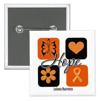 El amor de la esperanza de la leucemia inspira pin cuadrado