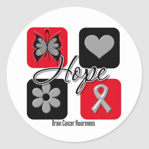 El amor de la esperanza del cáncer de cerebro pegatina redonda