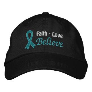 El amor de la fe del cáncer ovárico cree gorro bordado