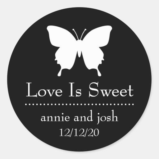 El amor de la mariposa es etiquetas dulces (el pegatina redonda